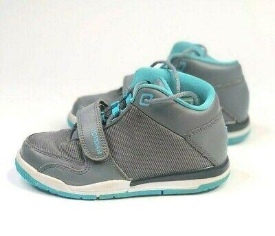 Air Jordan Kids Grey and Aqua Basketball Shoes Sneakers 602664-015 Sz 11c