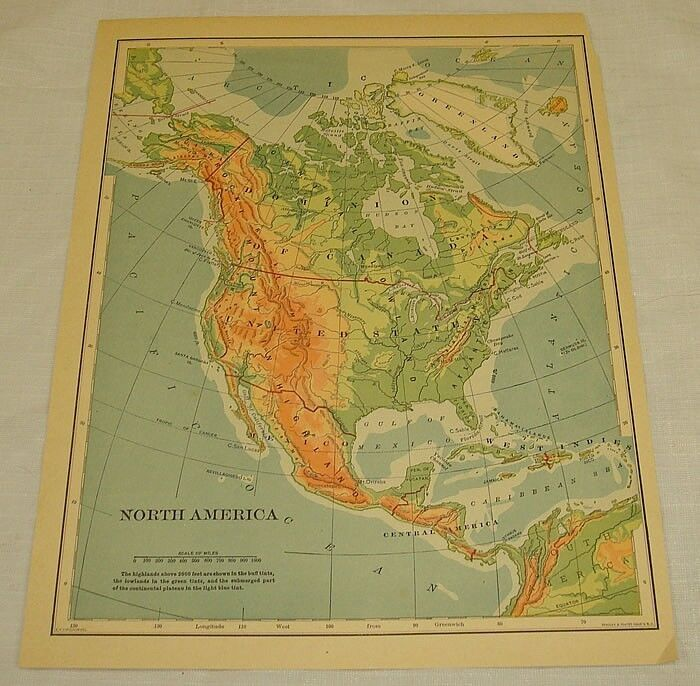 1898 COLOR MAP of NORTH AMERICA