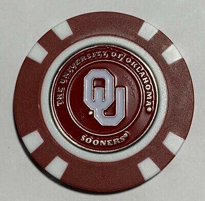 New Oklahoma Sooners Magnetic Poker Chip removable Golf Ball Marker (Oklahoma Sooners Golf Ball)