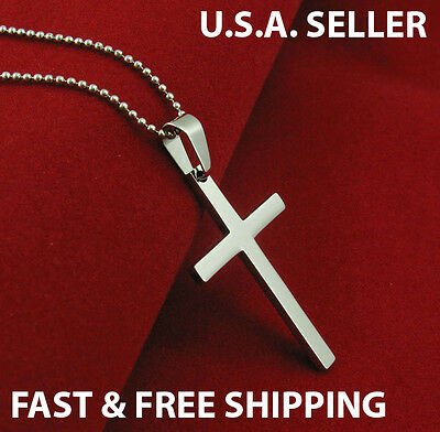 Men's Stainless Steel Cross Christian Pendant Necklace Chain Silver USA SELLER