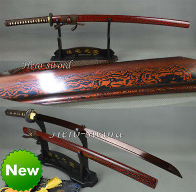 Handmade Japanese Samurai Sword Katana Folded Steel Red Blade Sharp  Full Tang