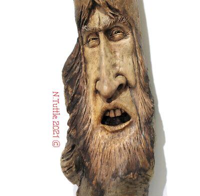 ORIGINAL WOOD TREE SPIRIT CARVING HOMEMADE WEIRD WIZARD STRESS OOAK NANCY TUTTLE