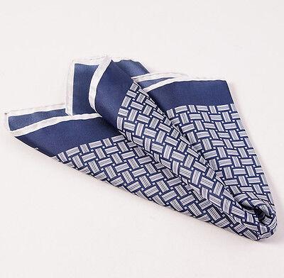 New $215 KITON NAPOLI Navy Blue-White Basketweave Print Silk Pocket Square
