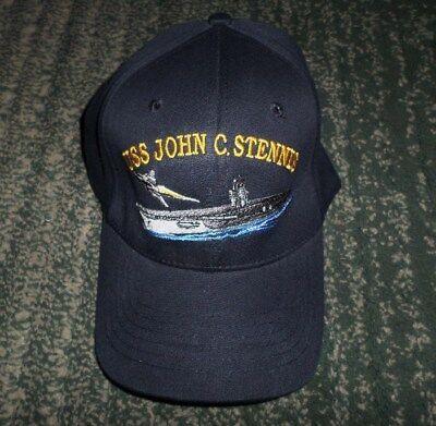 Men's Blue USS JOHN C STENNIS Aircraft Carrier Hat, Size S/M Stretch Fit, GUC