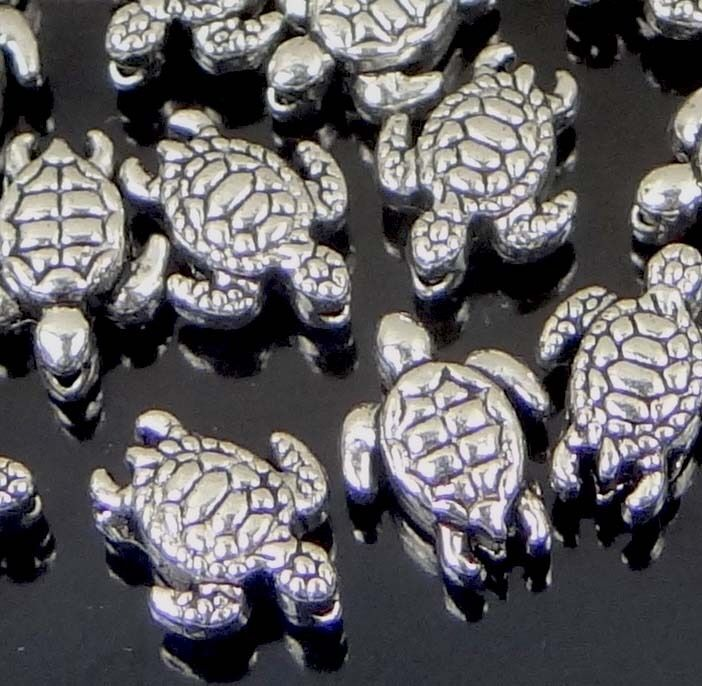 25 tiny Antique Silver Pewter Turtle Tortoise Beads 9x7mm