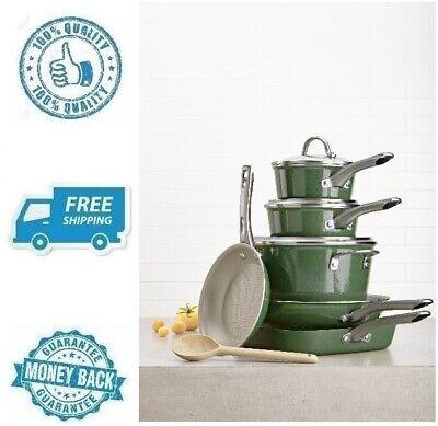 New Green Cookware Set Porcelain Enamel Nonstick Frying Pan Saucepan Soup Pot ()