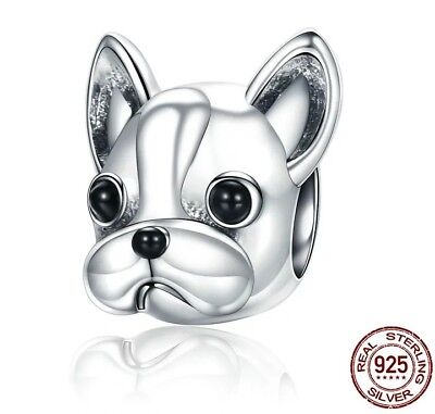 French BULLDOG dog charm REAL 925 Sterling Silver - Frenchie Frenchy