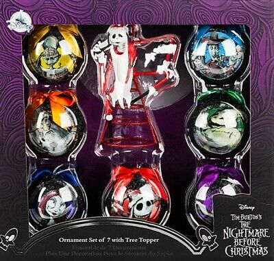 TIM BURTON'S The nightmare before christmas tree topper and 7 ball ornament set