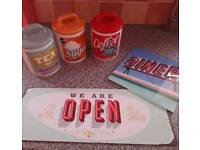 Bundle Retro Style Tea Coffee Sugar Canisters, Metal Sign and Counter Saver