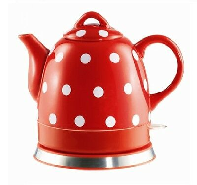 Teapot Ceramic Electric Kettle Red Polka Dot Electric Cerami Kitchen Kettle
