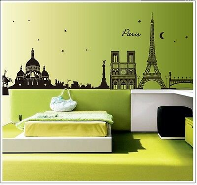 Wandaufkleber Wandtattoo Wandsticker I Love Paris Eiffel Tower  6912