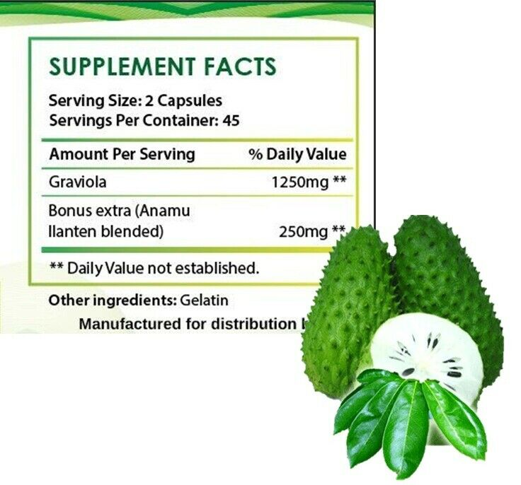 #1 BEST GRAVIOLA SOURSOP 1000mg IMMUNE SYSTEM ANTIOXIDANT SUPPLEMENT PILLS 180ct 1