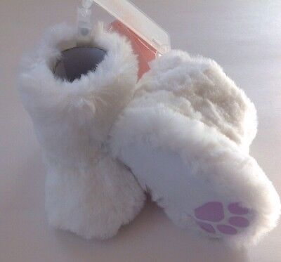 Gymboree Baby Girls Sz 3 Twins White w Purple Paws Soft Crib Booties Shoes NWT