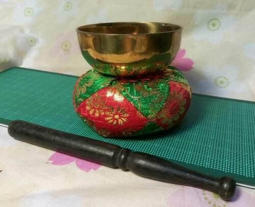 """Buddhist Bell Set 2.677"""" Japanese Brass Rin Mat Stick Set040"""