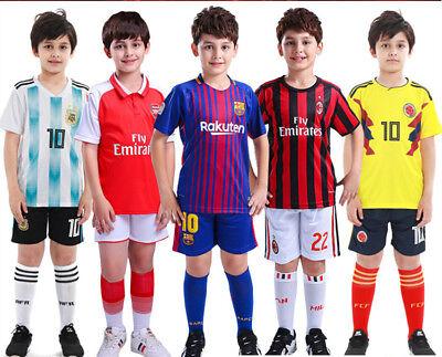 2018  2PCS Boys football training wear Clothing Set Shirt, Pants, 2-13Y