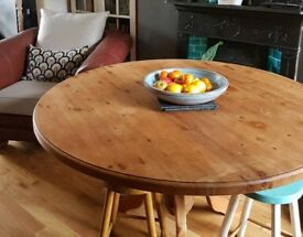 Solid heavy pine table (seats 6). Great for shabby chic project.