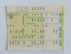 YES Concert Ticket 1972 Norfolk Virginia * - France - Ticket de concert YES Original ticket stub YES NORFOLK Scope VIRGINIA (USA) 9th november 1972 Bon état. (Good condition. See Scan..) Payment: IBAN/BIC (bank transfer) (Paypal upon request)( Pour les franais : chque possible) ( Paypal sur demande - France