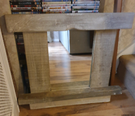 large, very attractive handmade driftwood mirror with shelf..