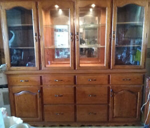 A Mennonite Handcrafted Solid Oak China Cabinet