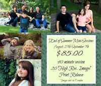 $85 End of Summer Mini-sessions