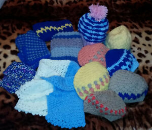 Hats, ear warmers, cowls, toys