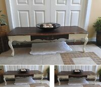 Mid Century Beauty! Stained & Ivory Provincial COFFEE Table