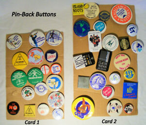 Vintage button collection, pin-back, 393 pieces, most $1 each
