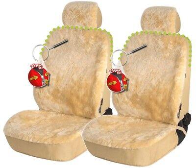 2 Stück Reißverschluss Lammfell Autositzfelle+Kopfstütze beige, ZIPP IT System - Lammfell Reißverschluss Vorne
