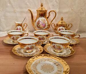 Ensemble à thé gloria fine porcelain echt glanz gold