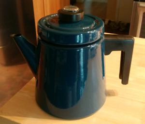 VINTAGE FINEL ARABIA PETROL BLUE PEHTOORI ENAMEL COFFEE POT