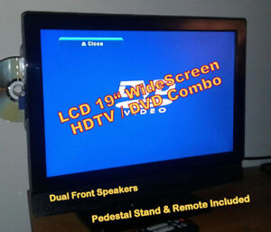 """LCD 19"""" HDTV WideScreen TV/DVD COMBO, Pedestal Stand & Remote"""