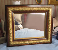 "1960's Antique Mirror - Wood Frame - 31"" x 27"""