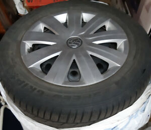 15 inch Semperit Winter Tires on Rims & VW caps