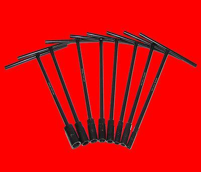 8 Stück T-Griff Steckschlüssel Schraubendreher 8mm - 15mm Schlüsselweite Schwarz