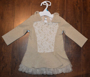 LIKE NEW: Heirlooms by Polly Flinders Gold & Lace Dress 12M