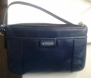 Coach Leather Clutch, Navy blue
