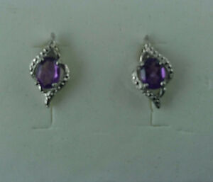 1.35CT PURPLE AMETHYST AND DIAMOND EARRINGS