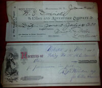 c1888 Antique Cheque Lot Cheques Paper vintage old retro