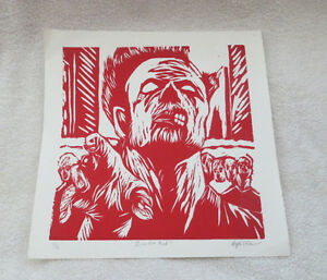 """ZOMBIE RED "" SILK SCREENED PICTURE PRINT - SIGNED and NUMBERED"
