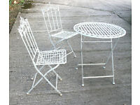 Patio Set of White Metal Folding Table and Two Chairs – Aged Finish