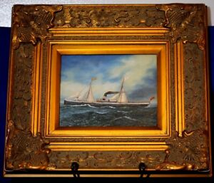 Early Signed 19th C. Dutch Nautical Oil Painting - Hospital Ship
