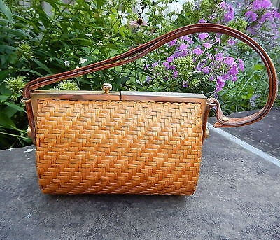 '60s RODO ITALY Natural Woven WICKER PURSE SHOULDER BAG Brass Leather