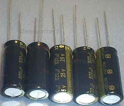 5x Panasonic Fm 820uf 25v New Radial Capacitors Caps 105c 10mm 10x25 Low-esr