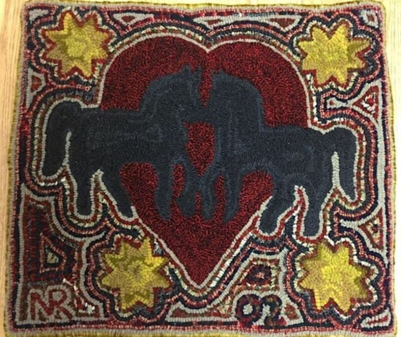 """Wool Hand Hooked Rug - """"Kissing Horses"""" (22"""" W x 19"""" L)"""