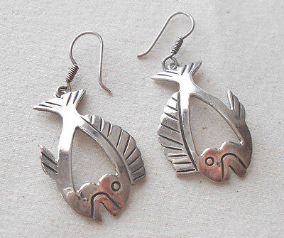 Vintage Sterling Silver Mexico H-53 Fish Dangle  Earrings     361312