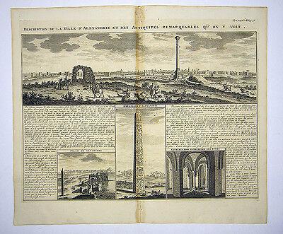 ALEXANDRIA ÄGYPTEN AFRIKA GROßER KUPFERSTICH ANSICHT CHATELAIN 1719 AD #D949S