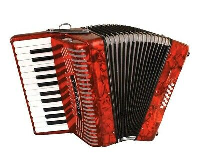 Hohner Hohnica Piano Accordion Red with Gig Bag & Straps 26 Teclas Y 12 Bajos.