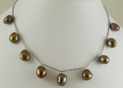 """Freshwater Chocolate Nugget Shape Pearl Necklace 16"""" 14k White Gold Chain"""