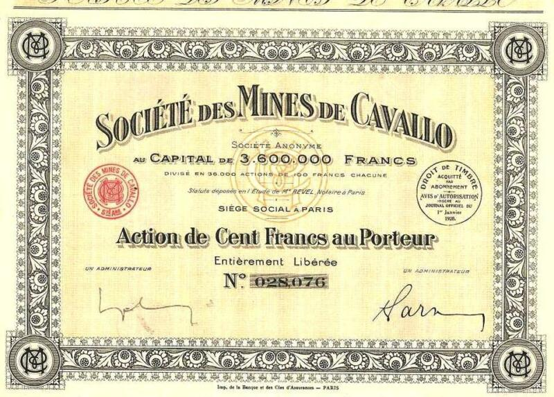 Africa Algeria France bond 1928 Lead Mine Cavallo 100 francs Uncancelled coupons