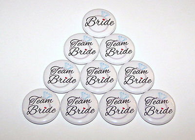 Team Bride Wedding Ring Pins Bachelorette Party Favors Pin Back Buttons -10 Pack - Bachelorette Pins